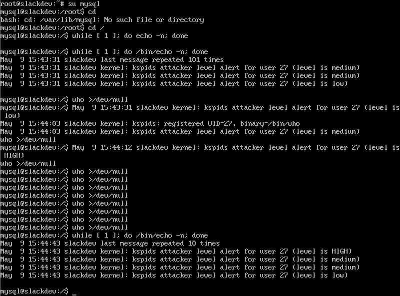 KSPIDS simulated attack detection